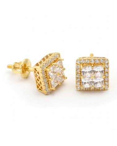 KING ICE - Button CZ Earrings 14K
