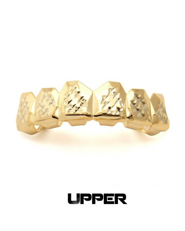 King Ice - Gold Diamond Cut Teeth Grillz - Top