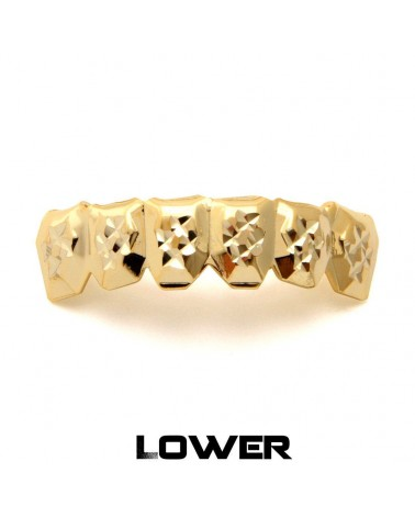 King Ice - Gold Diamond Cut Teeth Grillz - Bottom