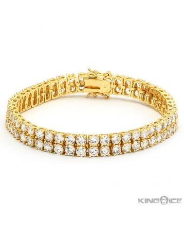 King Ice - 8mm - White Gold Dual Row Tennis Bracelet Mix