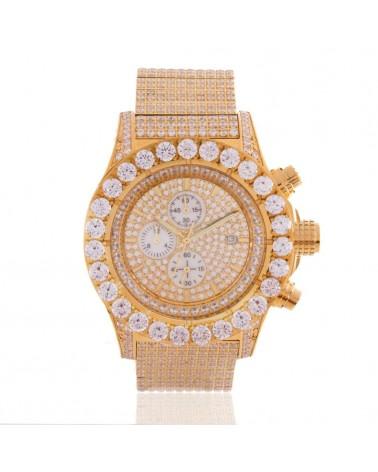 King Ice - 14K Gold Royal CZ Watch