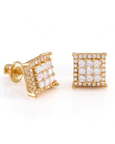 KING ICE - Gold Double Layered CZ Earrings - Gold