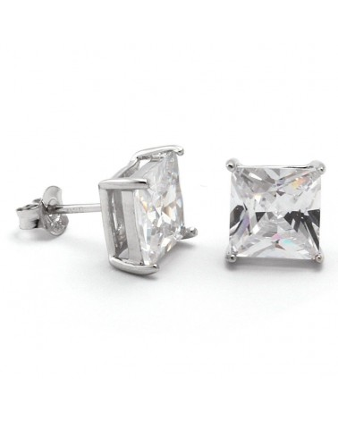 King Ice - 925 Sterling Silver Gold Clear Princess Stud