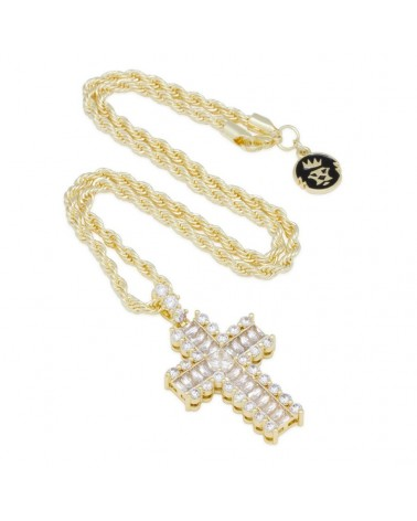 King Ice - The Large Icy Cross Necklace - Gold