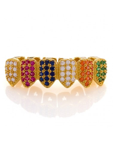 King Ice - 14K Gold-Two-tone CZ Dracula Teeth Grillz - Bottom