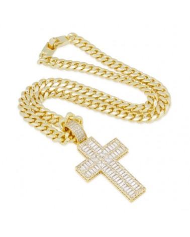 King Ice - Baguette Cut Cross Necklace - Gold