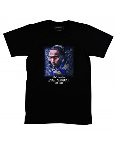 Block Custom - Pop Smoke Stars Moon Merch Tee - Black