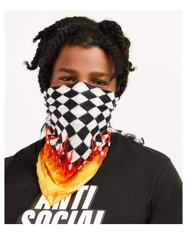 Reason - Fire Checkered Bandana - Black / White / Flame