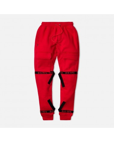 8 & 9 Clothing - Strapped Up Fleece Sweatpant - Red / Black