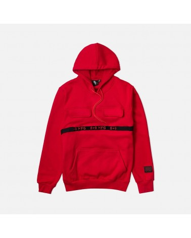 8 & 9 Clothing - Strapped Up Fleece Hoody - Red / Black