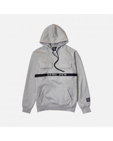 8 & 9 Clothing - Strapped Up Fleece Hoody - Grey / Black
