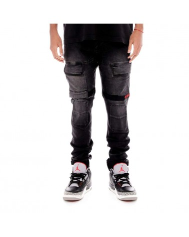8 & 9 Clothing - Strapped Up Utility Pants Splatter - Washed Black/Red