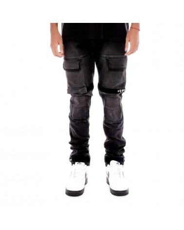 8 & 9 Clothing - Strapped Up Utility Denim Pants - Washed Black/White