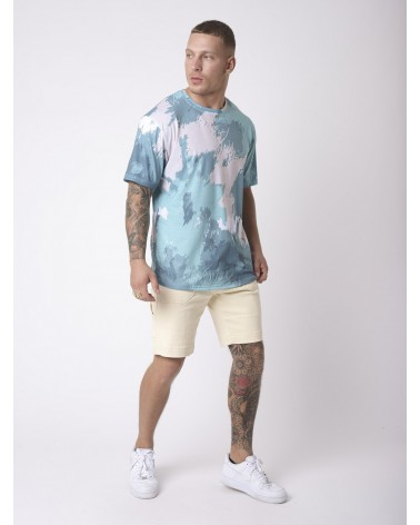 PROJECT X PARIS - ABSTRACT PAINTING EFFECT TEE - AQUA/SKY