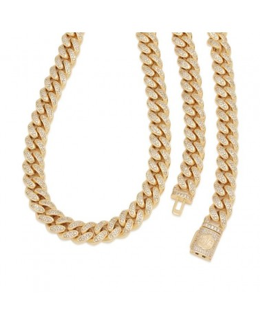 King Ice - 12mm - 14K Gold Iced Miami Cuban Chain - Gold