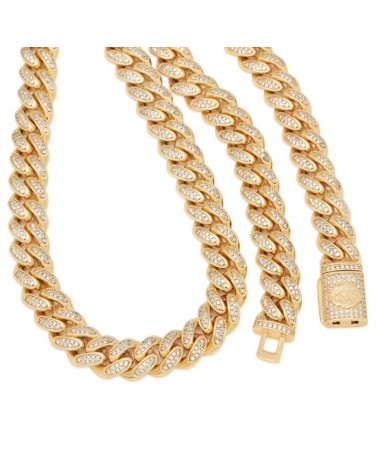 King Ice - 15mm - 14K Gold Iced Miami Cuban Chain - Gold