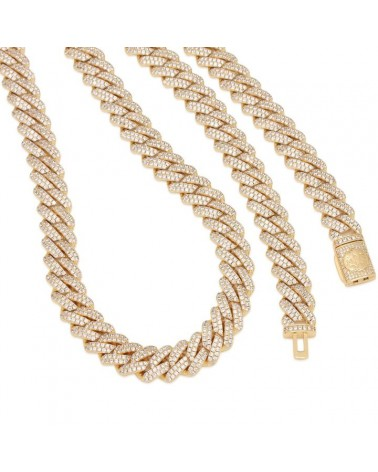 King Ice - 12mm - 14K Gold Iced Diamond Cut Miami Cuban Chain - Gold