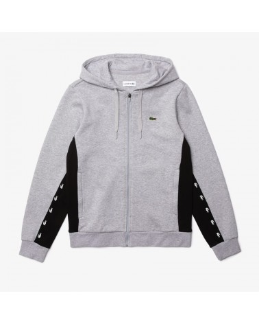 Lacoste Sport - Contrast Accents Fleece Zip Sweatshirt - Grey