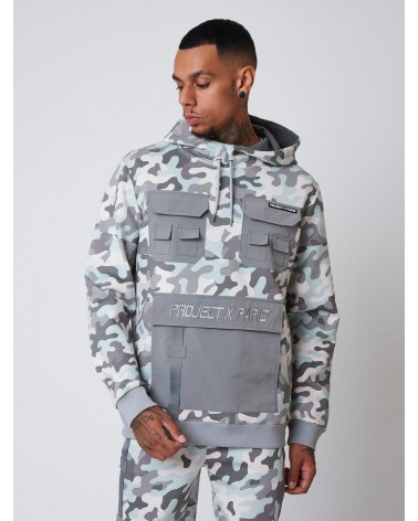 PROJECT X PARIS - CAMO PRINT HOODIE - GREY