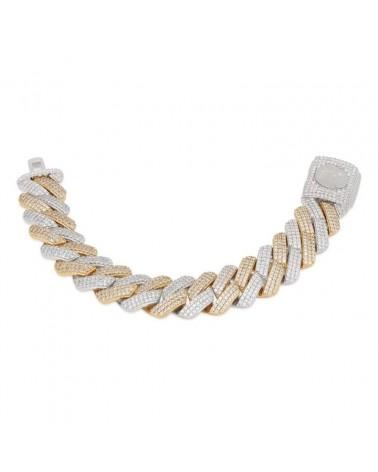 KING ICE - 18MM Iced Diamond Cut Miami Cuban Bracelet - Gold/White Gold