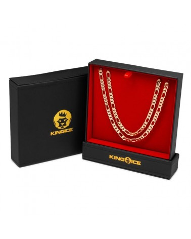 KING ICE - 8MM - Figaro Chain Choker Set - 14K Gold Plated