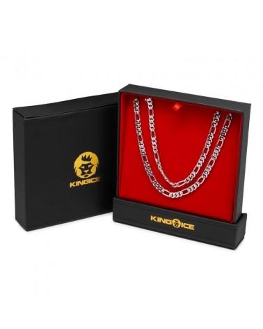 KING ICE - 8MM - Figaro Chain Choker Set - 14K White Gold Plated
