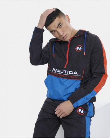 Nautica Competition - Magellan Hooded Track Jacket - Black/Red/Blue